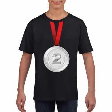 Zilveren medaille kampioen shirt zwart en meisjes