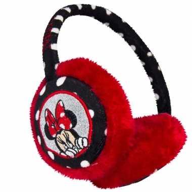 Zwart/rode minnie mouse oorwarmers voor meisjes
