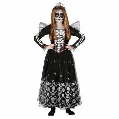 Zwart/witte skelet verkleedjurk met tule voor meisjes