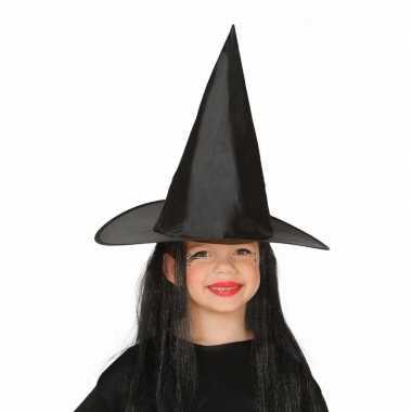Zwarte heksenhoed met haar voor meisjes