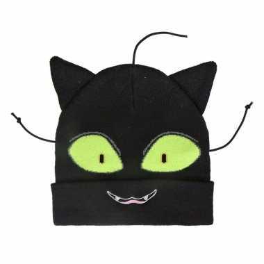 Zwarte katten/poezen muts voor meisjes