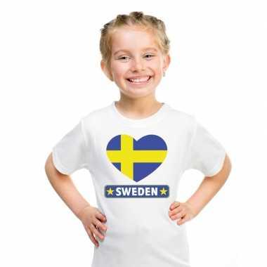 Zweden hart vlag t-shirt wit en meisjes