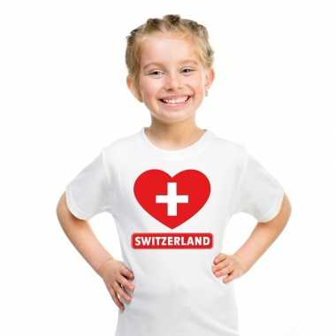 Zwitserland hart vlag t shirt wit en meisjes