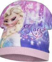Frozen fleece muts roze voor meisjes