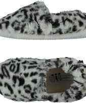 Grijze panterprint luipaardprint ballerina pantoffels sloffen voor meisjes