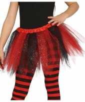 Heksen verkleed petticoat tutu zwart rood glitters voor meisjes