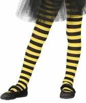 Heksen verkleedaccessoires panty maillot zwart geel voor meisjes