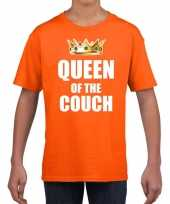 Koningsdag t-shirt queen of the couch oranje voor meisjes