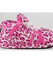 Luipaard pantoffels roze voor meisjes