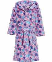 Luxe fleece roze badjas met bloemen motief voor meisjes