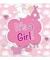 Meisjes 60x geboorte meisje babyshower servetten roze 25 x 25 cm papier