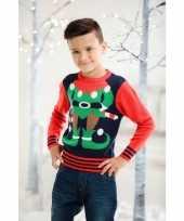 Meisjes foute kerst trui rood blauw voor kinderen
