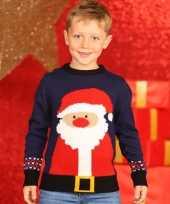 Meisjes foute kerstman print trui blauw voor kinderen
