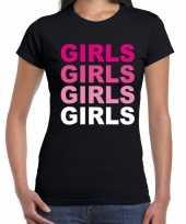 Meisjes gay pride girls tekst t-shirt zwart voor dames