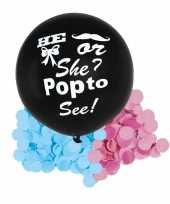 Meisjes gender reveal ballon he or she inclusief roze en blauwe confetti