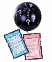 Meisjes gender reveal ballon inclusief roze en blauw poeder 90 cm