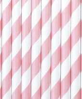 Meisjes gestreepte rietjes lichtroze wit 20 stuks van papier