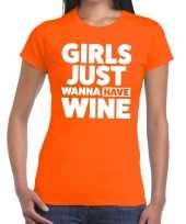 Meisjes girls just wanna have wine tekst t-shirt oranje dames