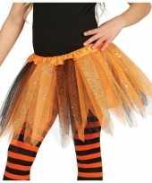 Meisjes heksen verkleed petticoat tutu oranje zwart glitters voor meisje
