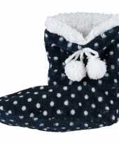Meisjes hoge sloffen pantoffels stippenprint blauw maat 34 36
