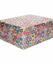 Meisjes inpakpapier holografisch met gekleurde cirkels 200 x 70 cm