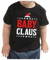 Meisjes kerstshirt baby claus zwart peuter jongen meisje