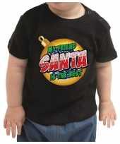 Meisjes kerstshirt my friend santa is the best zwart baby jongen meisje