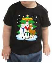 Meisjes kerstshirt santa en dierenvriendjes zwart peuter jongen meisje