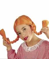 Meisjes oranje vlechtjes pruik