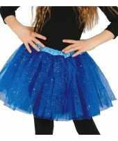 Meisjes petticoat tutu verkleed rokje kobalt blauw glitters voor meisje
