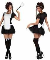Meisjes sexy dienstmeisje verkleed kostuum jurkje voor dames