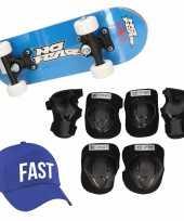 Meisjes skateboard set voor kinderen l 9 10 jaar valbescherming fast pet skateboard met print 43 cm blauw