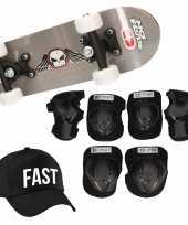 Meisjes skateboard set voor kinderen l 9 10 jaar valbescherming fast pet skateboard met print 43 cm grijs
