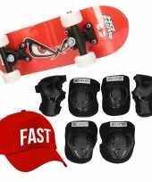 Meisjes skateboard set voor kinderen l 9 10 jaar valbescherming fast pet skateboard met print 43 cm rood