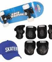 Meisjes skateboard set voor kinderen l 9 10 jaar valbescherming skater pet skateboard met print 43 cm blauw
