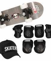 Meisjes skateboard set voor kinderen l 9 10 jaar valbescherming skater pet skateboard met print 43 cm grijs