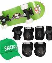 Meisjes skateboard set voor kinderen l 9 10 jaar valbescherming skater pet skateboard met print 43 cm groen