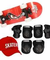 Meisjes skateboard set voor kinderen l 9 10 jaar valbescherming skater pet skateboard met print 43 cm rood