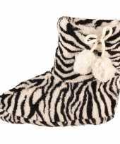 Meisjes sloffen met zwart witte zebra print