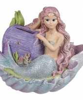 Meisjes spaarpot zeemeermin met paarse schatkist