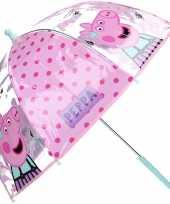 Peppa pig big kinderparaplu transparant voor meisjes 61 cm