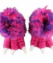 Roze monsterpoten pantoffels voor meisjes