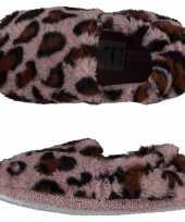 Roze panterprint luipaardprint ballerina pantoffels sloffen voor meisjes