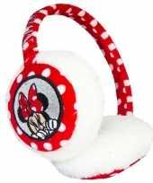 Wit rode minnie mouse oorwarmers voor meisjes