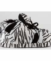 Zebra pantoffels zwart wit voor meisjes