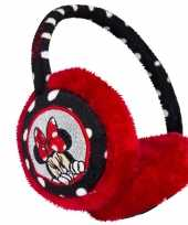 Zwart rode minnie mouse oorwarmers voor meisjes